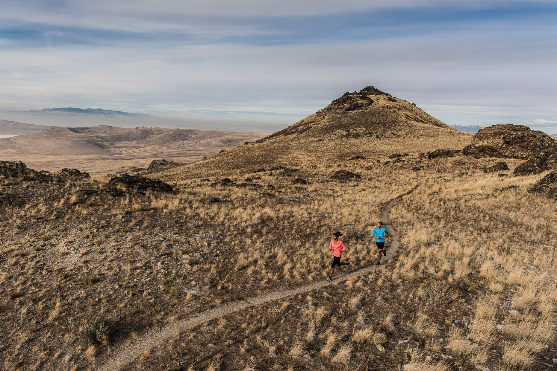Trail Running on Antelope Island, Utah