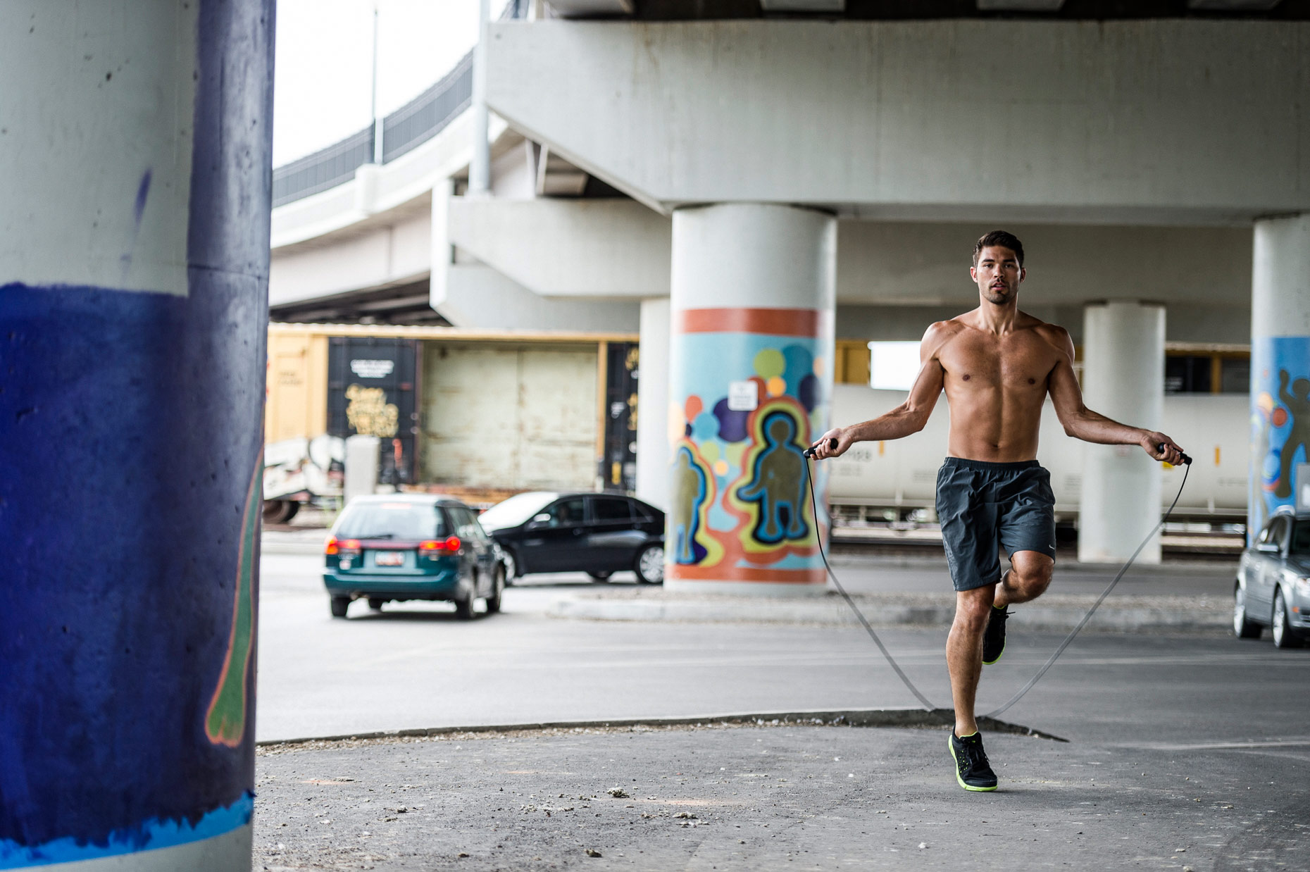 Sports Photography - Male Jumping Rope in the City Zija